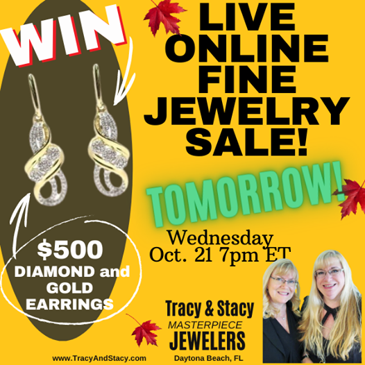 Online jewelry sale tomorrow at https://www.facebook.com/masterpiecejewelers