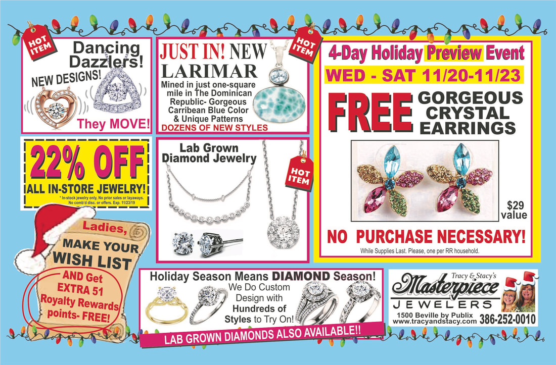 Find custom jewelry for the holidays at our pre-holiday sale at Masterpiece Jewelers Daytona Beach!