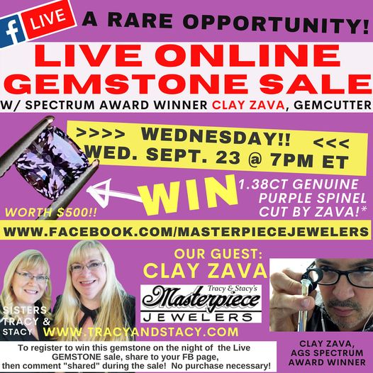 Live online gem sale at https://www.facebook.com/masterpiecejewelers!