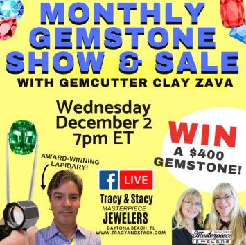 Gemcutter Clay Zava joins us at https://www.facebook.com/masterpiecejewelers
