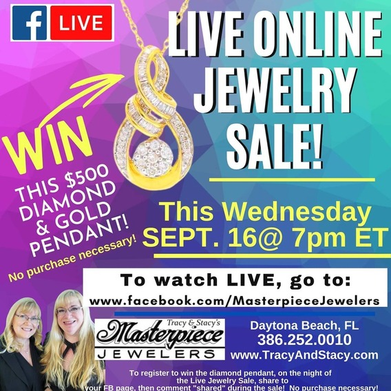 Your Daytona jewelry store is giving away a diamond and gold pendant online!