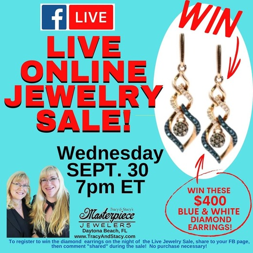 Win gorgeous earrings and more at our online jewelry sale this Wednesday at https://www.facebook.com/masterpiecejewelers!