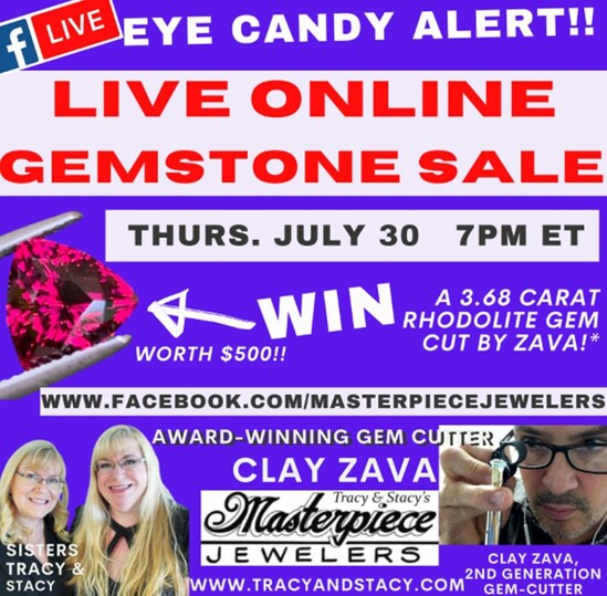 Join American award-winning gem-cutter Clay Zava at your family jewelry store this Thursday!