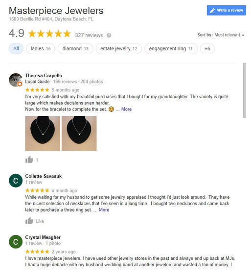 Check out the 300+ positive reviews on Google for one of the Best Florida jewelers here!